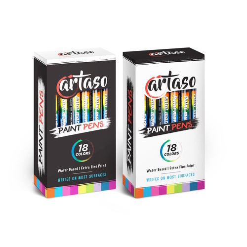 Paint packaging with the title 'modern box design for Artaso Pint pens'