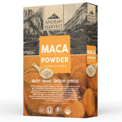 Winning design with the title 'Maca Powder'