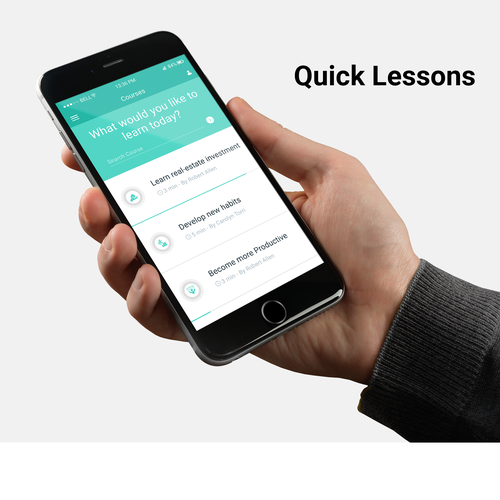 E-learning design with the title 'E Learning Mobile App Design'