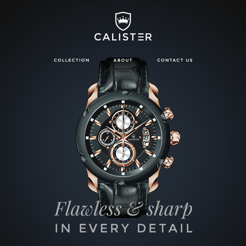 Refined design with the title 'Calister - Website for Fashion Watch Company'