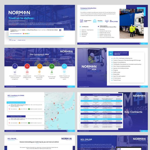 Logistics design with the title 'Logistics PowerPoint Presentation'