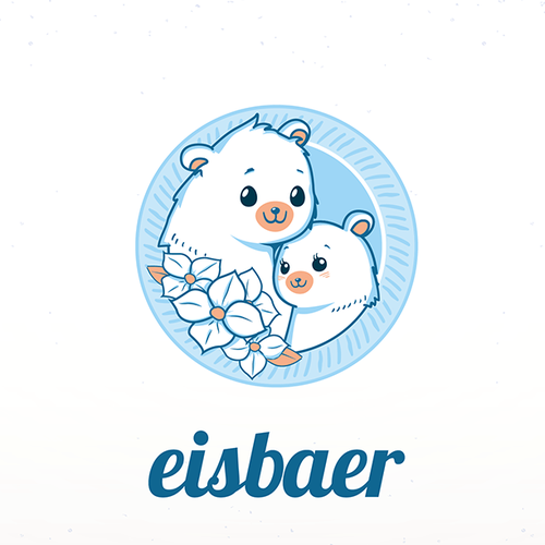 Frozen logo with the title 'Cute icebear mascots logo for flower company!'