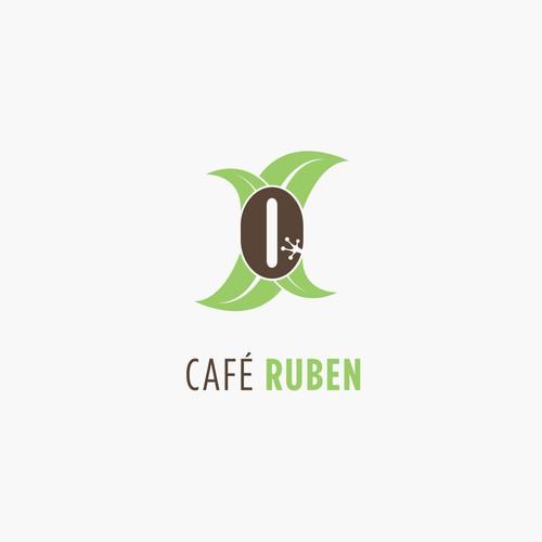 Coffee bean design with the title 'Café Ruben'