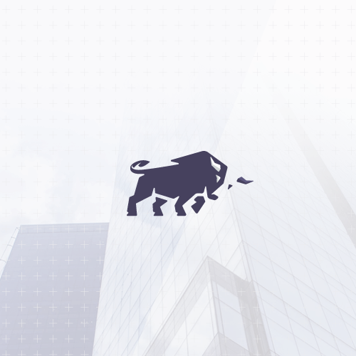 Flat design with the title 'Minimalistic bull design'
