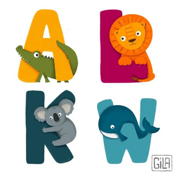 Alphabet design with the title 'Children Animal Alphabet'