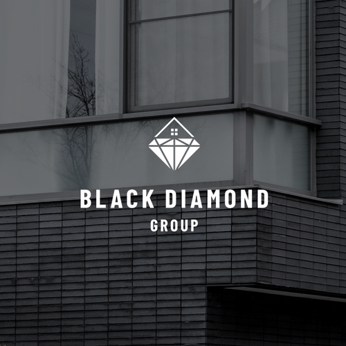 Black logo with the title 'sophisticated and modern logo for growing real estate team'