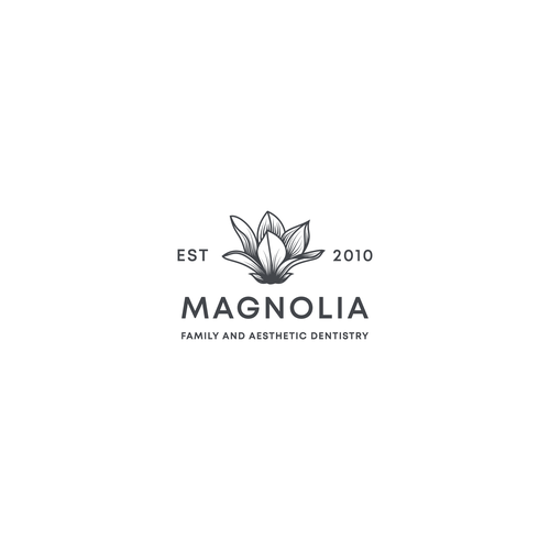 Magnolia logo with the title 'Logo For Magnolia Family and Aesthetic Dentistry'