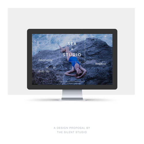 Beach website with the title 'Screendesign proposal for a Pilates Studio by the sea'