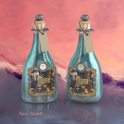 Concept art design with the title 'Bottle Design for an Alchemy Inspired Alcoholic Potion'