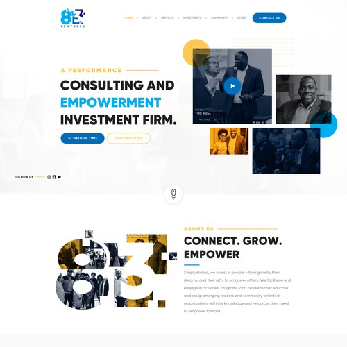Coaching website with the title '83 Ventures'