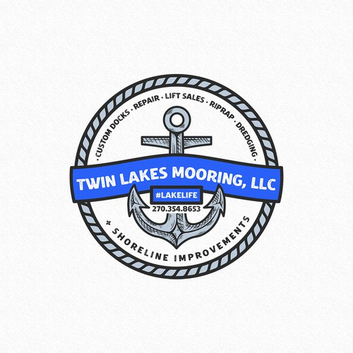 Logo with the title 'Twin Lakes Mooring, LLC'