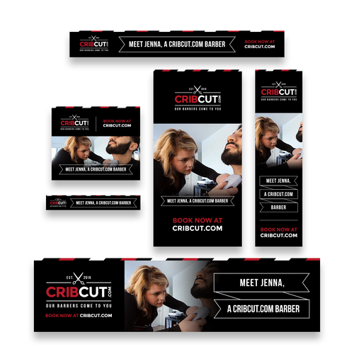 Aesthetic design with the title 'CribCut Adroll Banner Ad Set of 6'