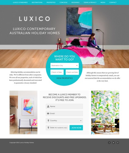 Upscale design with the title 'Luxico website design'