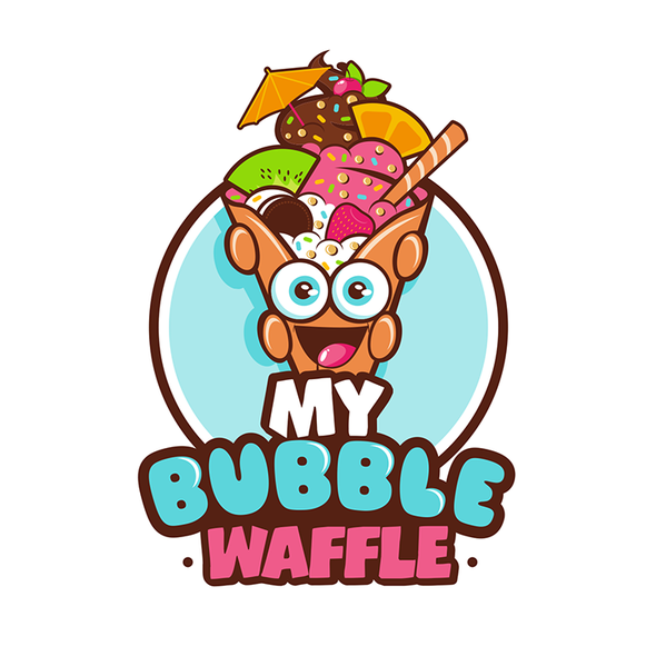 Waffle design with the title 'Logo for an Ice Cream (bubble Waffle) Shop'