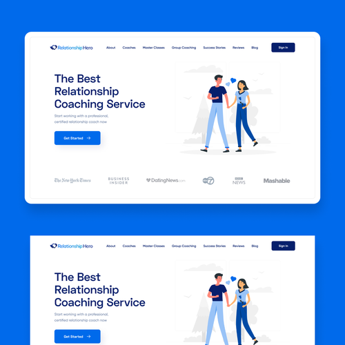 Coaching website with the title 'Homepage design for a Relationship Coaching Service'