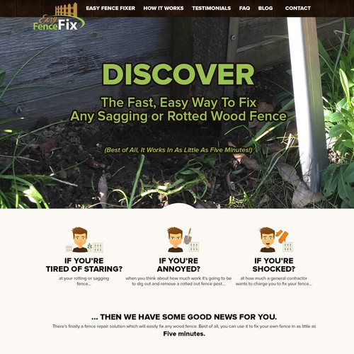 Construction website with the title 'Website design for Easy Fence Fix '
