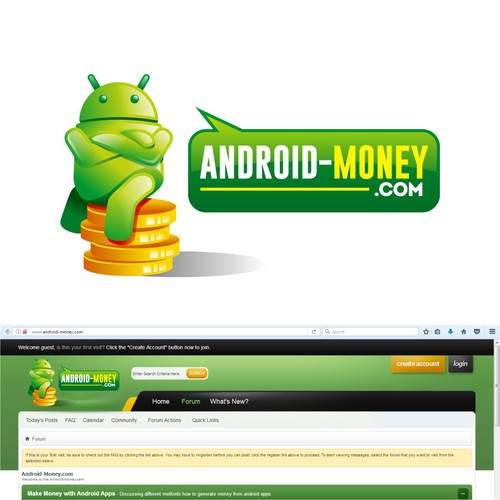 Forum design with the title 'android money'