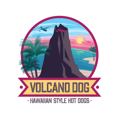 Volcano logo with the title 'Logo for Volcano Dog Hot Dogs'