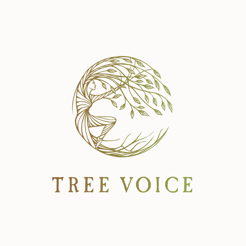 Tree service logo with the title 'Hand drawn logo design for a person connected to the tree :)'