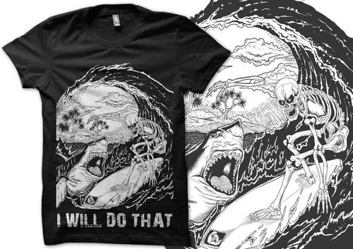 Wave t-shirt with the title 'DEADMANS BEACH  SKELETON SURFER'