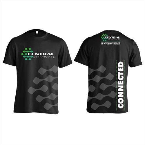 Green t-shirt with the title 'Logo concept for tehnology company'