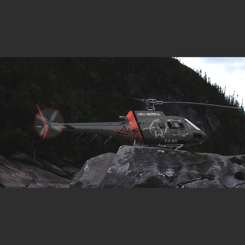 Vehicle graphic design with the title 'Heli-Boreal Inc. Helicopter Paint Scheme Design'