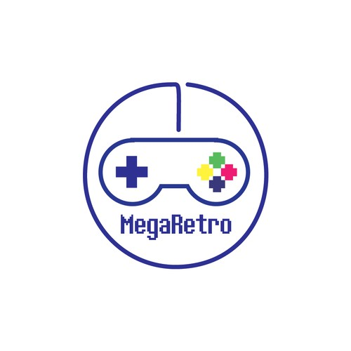 Console logo with the title 'New logo for retro video game console - MegaRetro'