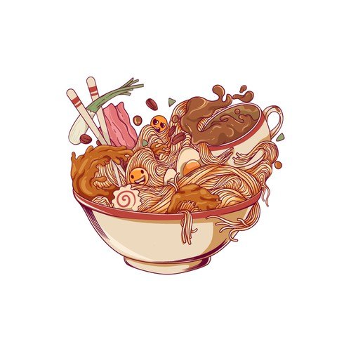 Love artwork with the title 'Ramen and Coffee meets Tote Bag Design'