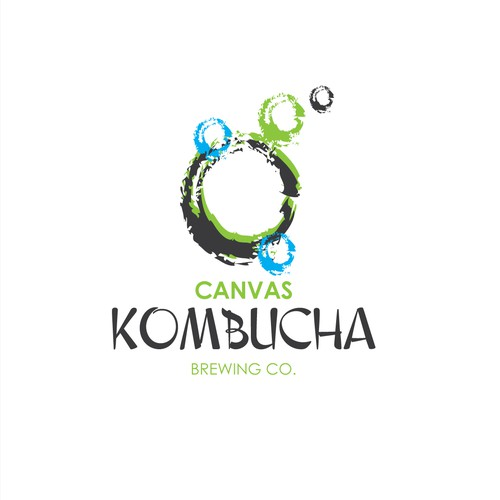 Paint brand with the title 'Fun arty logo for Kombucha Brewery'