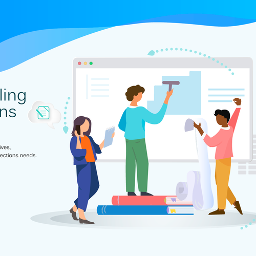 Flat design illustration with the title 'Design some graphics for landing page'