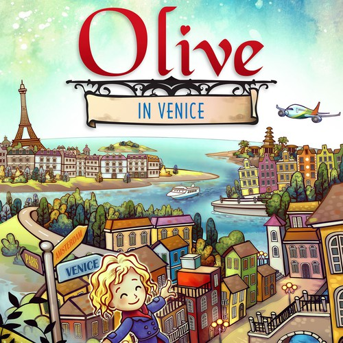 Kids book illustration with the title 'Olive in Venice'