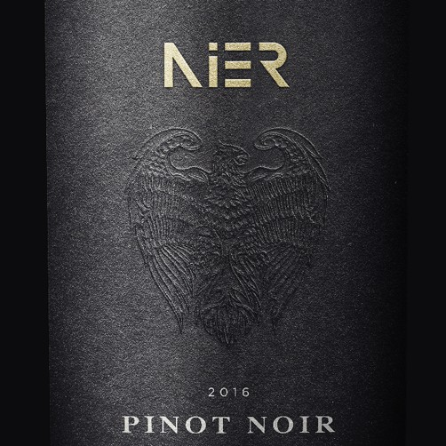 Wine bottle label with the title 'Wine label design for 'Nier', Hungarian wine'