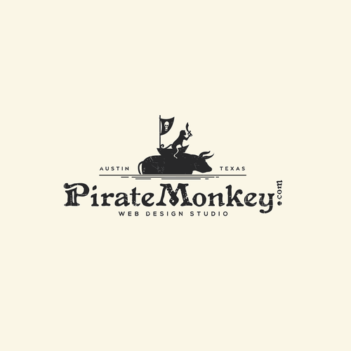 Flag logo with the title 'Pirate Monkey'