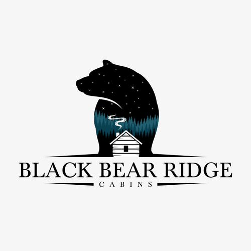 Cabin logo with the title 'Black Bear Ridge Cabins'