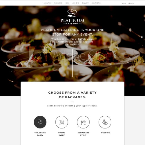 Service website with the title 'Platinum Catering'