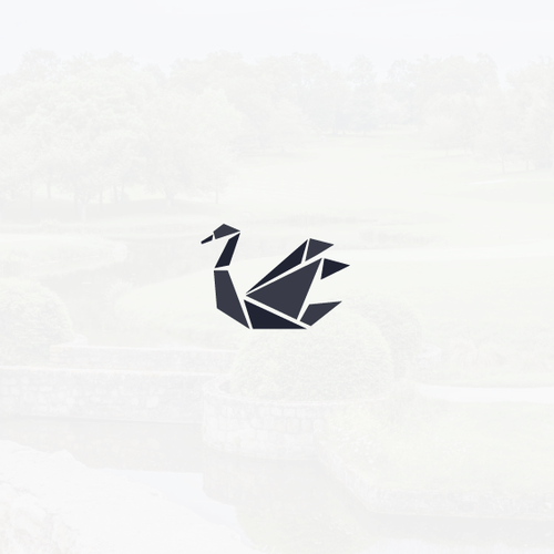 Finch logo with the title 'Origami swan logo'