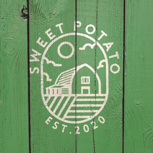 Farmhouse design with the title 'Logo Concept for Sweet Potato'