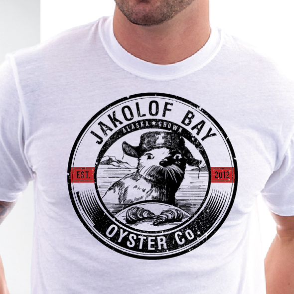 Otter logo with the title 'Create the next logo for Jakolof Bay Oyster Co.'