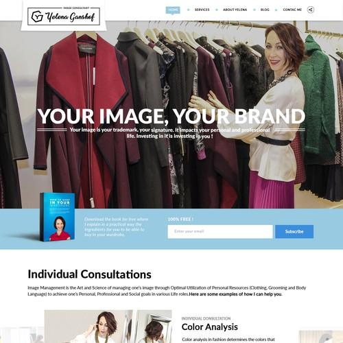 Redesigned website with the title 'Yelena Ganshof Landing Page'