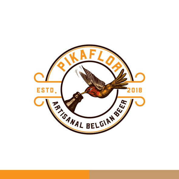 Belgium logo with the title 'Pikaflor Beer'