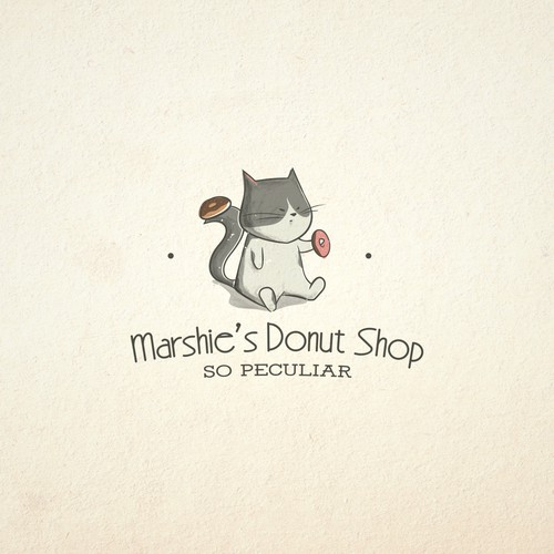 Donut logo with the title 'Cute character for a donut shop'