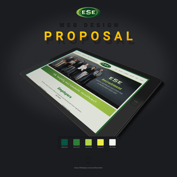 Yellow and green design with the title 'ESE Recruitment'