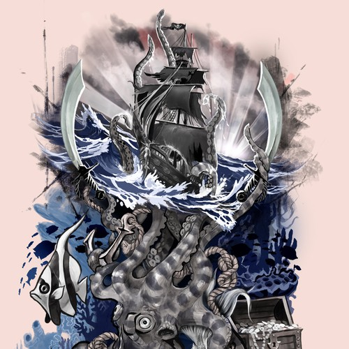 Ship design with the title 'Tattoo: nautical theme, half-sleeve'