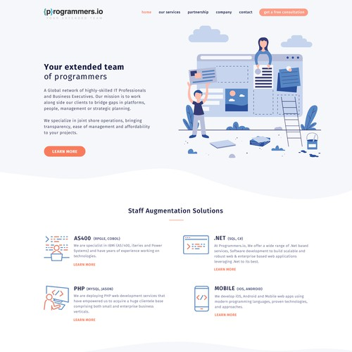 Illustrated website with the title 'Landing page for outsourcing company'