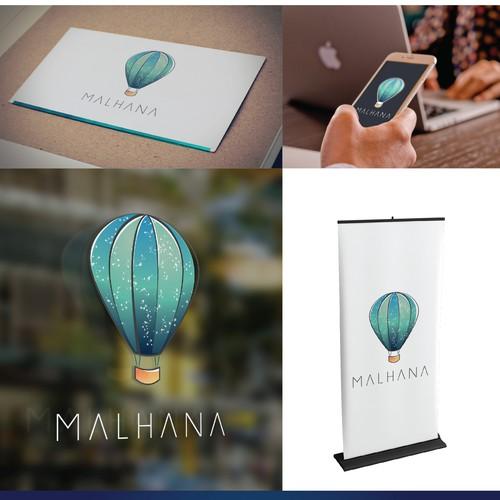Hot air balloon design with the title 'Malhana'