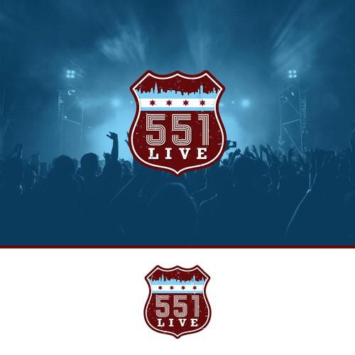 Venue design with the title '551 LIVE Live Music Venue'