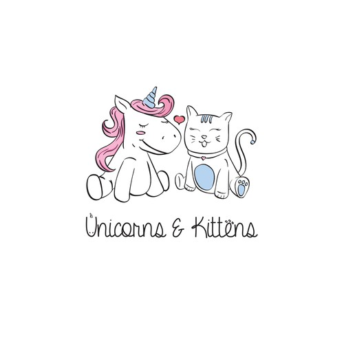 Pastel logo with the title 'Unicorns & Kittens'