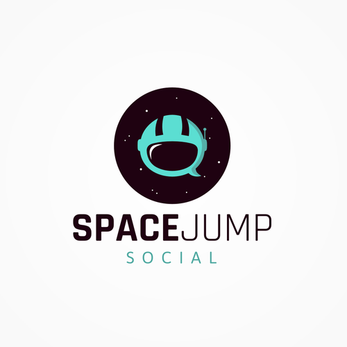 Speech bubble logo with the title 'SpaceJump'