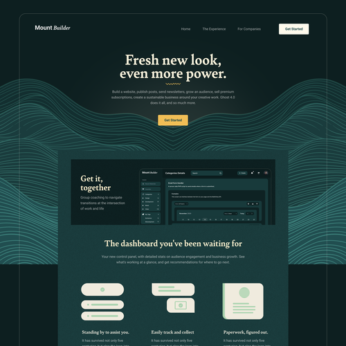 Builder design with the title 'Homepage design iteration'