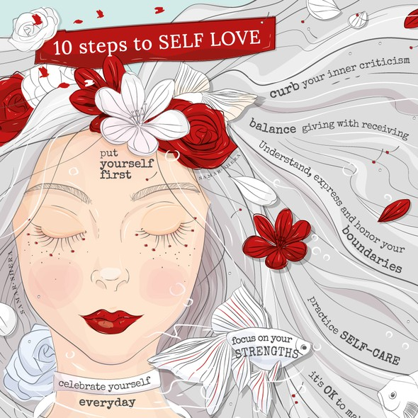 Gray and black design with the title 'An inspirational illustration about 10 step to SELF LOVE'